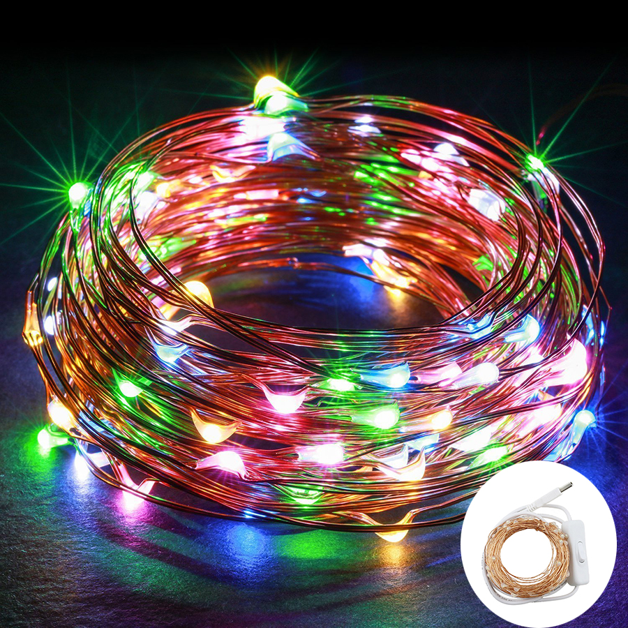 USB Powered 10M 100leds Copper Wire Led String Lights With On/off Switch Christmas Festival Wedding Party Decoration Fairy Light