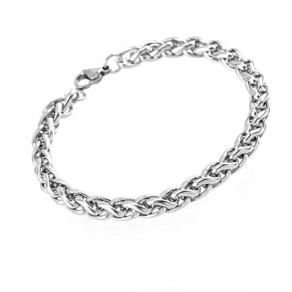 Gebreide kiel Tarwe rvs armband 4/5/6mm diy sieraden bangle mannen vrouwen Hoge Kwaliteit groothandel 1 stks