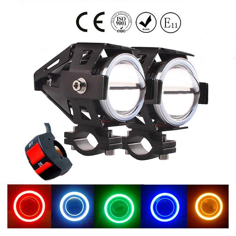 12V 125W Motorcycle Headlights Led Angel Eyes Spot Head Lamp 6000k Fog Lights Motorbike Spotlight U7 LED Moto Driving Headlamp