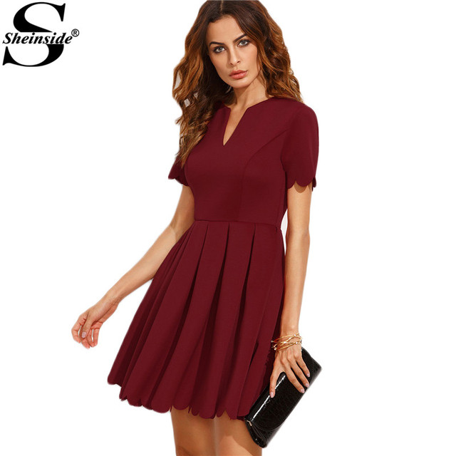 Aliexpress Buy Sheinside Burgundy Split Neck Scalloped Trim