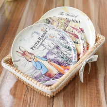 Western Creative Time Rabbit Flat Plate Fruit Plate Home Essential New Bone China Ceramic Tableware Lovely Plate Free Shipping цена 2017