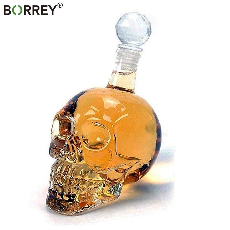 BORREY 1000Ml Skull Whiskey Glass Flagon Vodka Flask Borosilicate Glass Flask Wine Bottle With Stopper Skull
