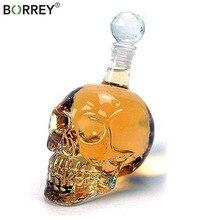 BORREY 1000 мл череп виски стеклянная бутылка водка колбы лабораторные боросиликатное стекло колбы лабораторные бутылки вина с фиксатором череп питьевой стекло кувшин