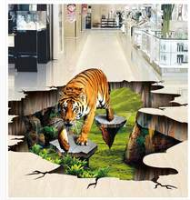 3D Tiger Schilderen Floor Stickers Outdoor Schilderen PVC Floor Sticker Muurschilderingen Moderne Custom 3D Floor Muurschildering(China)