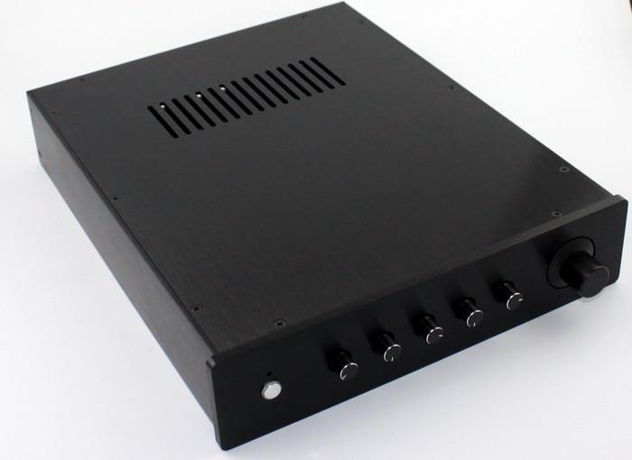 WA6 noir tout aluminium boîtier 2.1 canaux préamplificateur châssis amplificateur de puissance boîtier bricolage boîte 362*300*70 MM