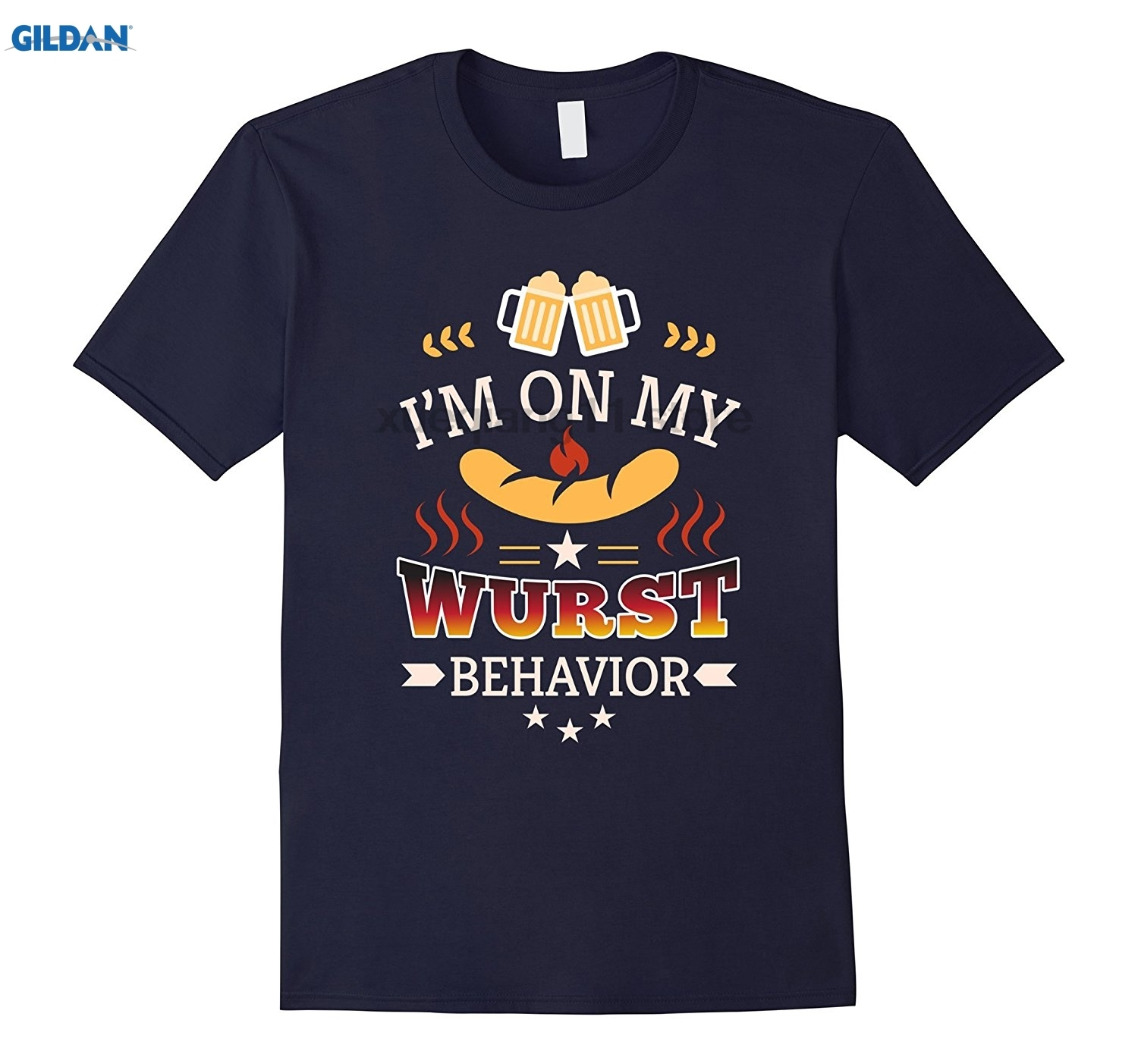 GILDAN IM ON MY WURST BEHAVIOR german Octoberfest beer T-Shirt