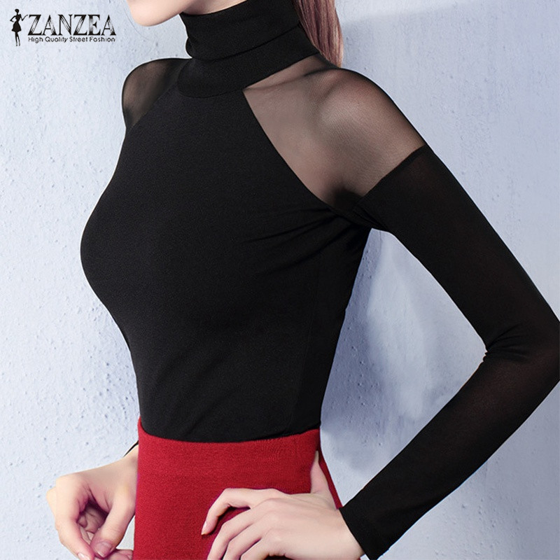 ZANZEA Women <font><b>2019</b></font> Autumn <font><b>Sexy</b></font> <font><b>Blouse</b></font> Shirts Turtleneck Long Sleeve <font><b>Mesh</b></font> See Through <font><b>Splice</b></font> Blusas Tops Casual Pullover Plus Size image