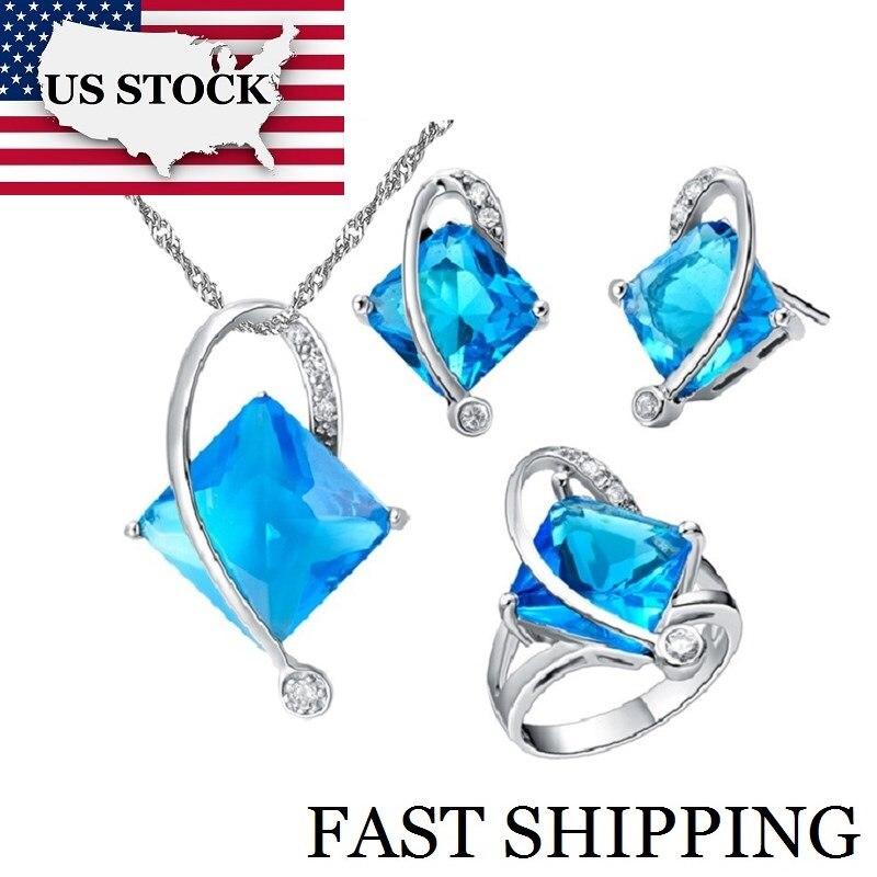 721 25 De Réductionusa Stock Uloveido 5 Couleurs Ensemble De Bijoux De Mariage Bleu Cristal Bijoux Ensembles Cadeaux Pour Femmes Boucles