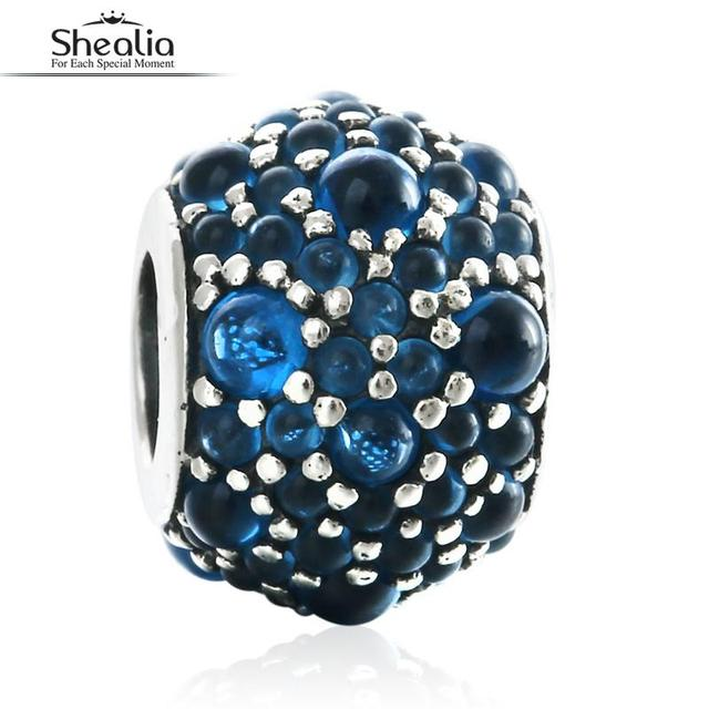 SHEALIA London Blue Shimmering Droplets Charms Bead 925 Sterling Silver Crystal Stone Beads For Jewelry Making Diy Accessories