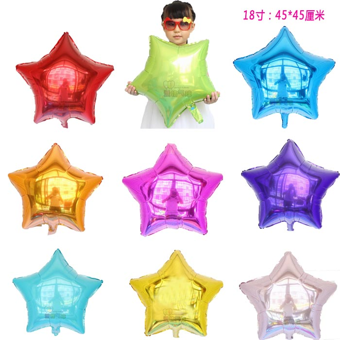 100pcs lot 18inch five pointed star helium foil balloon wedding birthday decor pure color metallic mylar