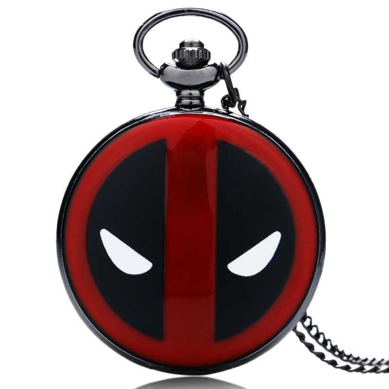 Cool Deadpool Theme Red & Black Case Design Quartz Pocket Watch With Necklace Chain For Men Women Best Gift Reloj De Bolsillo