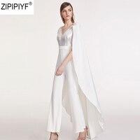 2018 Новый Summmer элегантный комбинезон Для женщин v образным вырезом без рукавов белый длинный плащ мода длинные комбинезоны костюм из двух пре