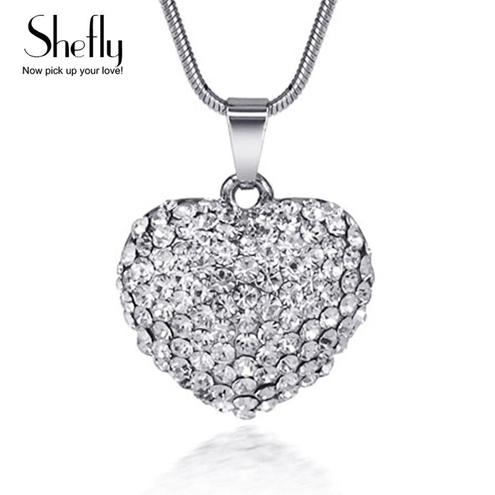 6f4dc830b808 2017 moda corazón colgante collar mujeres joyas novia regalo color plata  cristal checo Gargantillas y Colgantes xl02056