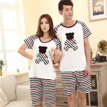 Low Price New Lovers Pajamas Women Short-sleeved Summer Thin Pajama Sets Men Pure Couple Pajamas Sleepwear Suit FT220
