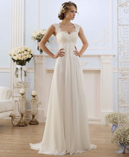 2016 Robe De Mariage Stock US Size 2-18 White/Ivory Appliques Chiffon Lace A-Line Wedding Dress Bridal Gowns Vestido De Noiva