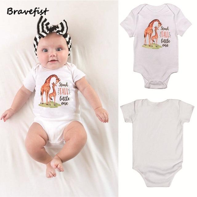 03e66e3ec Giraffes Animals Print Baby Jumpsuits Cotton Kids Bodysuits Short ...