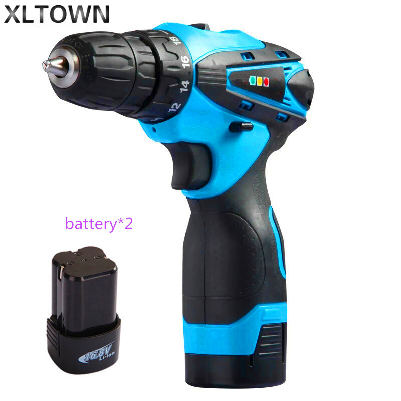 Xltwon16.8V Positive and Negative Adjust Rechargeable two-speed Lithium Battery Multi-function electric screwdriver two battery the positive side of negative enterprise