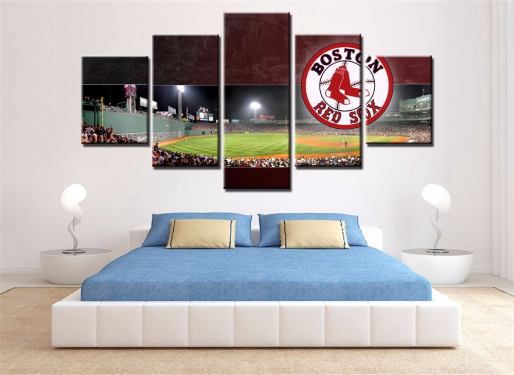 5 Piece Boston Red Sox Daseball Team Poster Cuadros Landscape Canvas Wall  Art Home Decor For