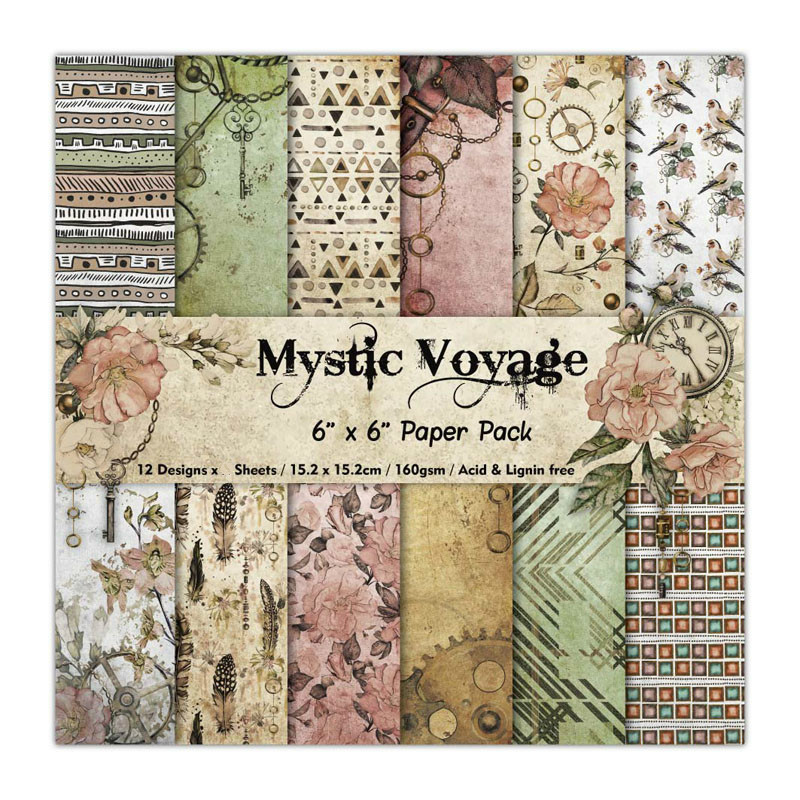 KLJUYP 12 Sheets Mystic Voyage Scrapbooking Pads Paper Origami Art Background Paper Card Making DIY Scrapbook Paper Craft