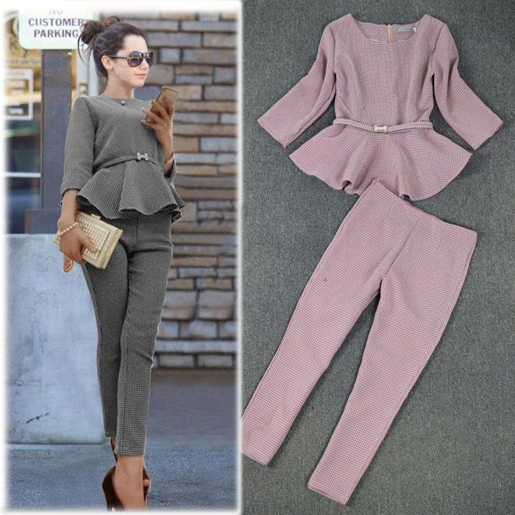 New 19 Spring Autumn Fashion Women's Business Pants Suits Houndstooth Checker Pattern Ruffles Suits For Women 2 Pieces Set 5