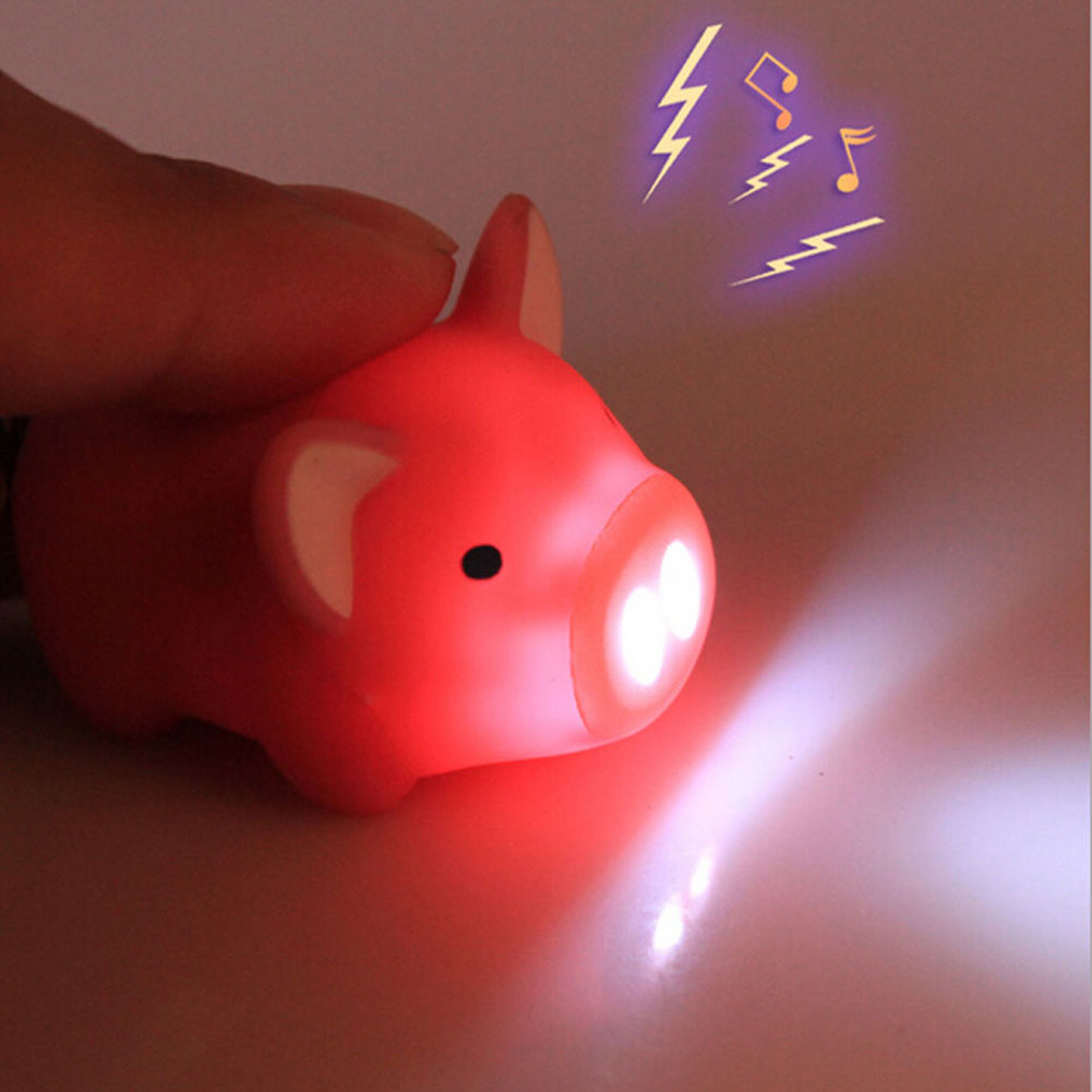3 colors ! cute pig led keychains flashlight sound rings Creative kids toys pig cartoon sound light keychains child gift