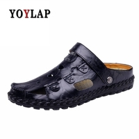 Men Sandals Genuine Leather Men Beach Sandals Brand Men Casual Shoes