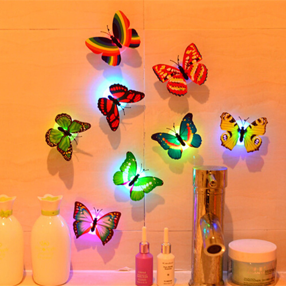 3D Butterfly Wall Stickers LED Wall Stickers 3D House Decoration Rainbow PVC Wallpaper Poster for living room Kids Rooms 2018