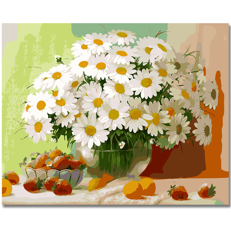 WEEN Wild Daisy Flowers-DIY Framed Oil Painting By Numbers kit,Wall Art Pictures,Canvas Paint For Living Room 40x50cm