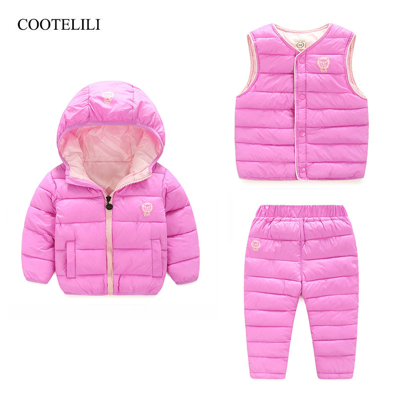COOTELILI 3 pièces ensembles enfants vêtements ensembles coton chaud hiver veste + gilet + pantalon bambin garçons filles vêtements d'hiver 90-130