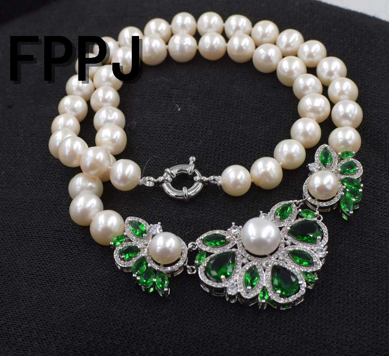 freshwater pearl white near round 10-11mm and green quartz flower necklace 18inch FPPJ wholesale beads nature freshwater pearl white near round and red jade leopard clasp necklace 18inch fppj wholesale beads nature