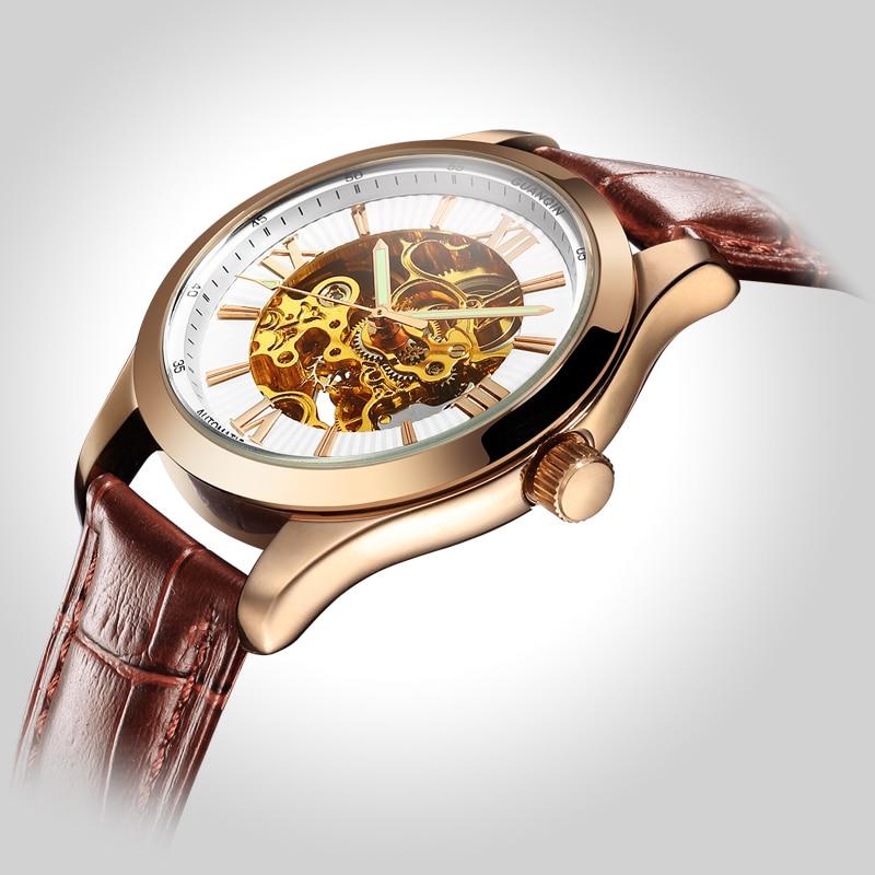 Original Luxury Brand Watch GUANQIN Men Mechanical Watch Full Hollow Watch Leather Waterproof Mens Wristwatch Relogio Masculino luxury aluminum watch