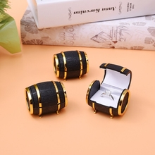 Wholesale Jewelry Box Cute Europe Beer Barrel Velvet Ring Earring Jewelry Display Gift Box Case Valentine's Day Gift Organizer