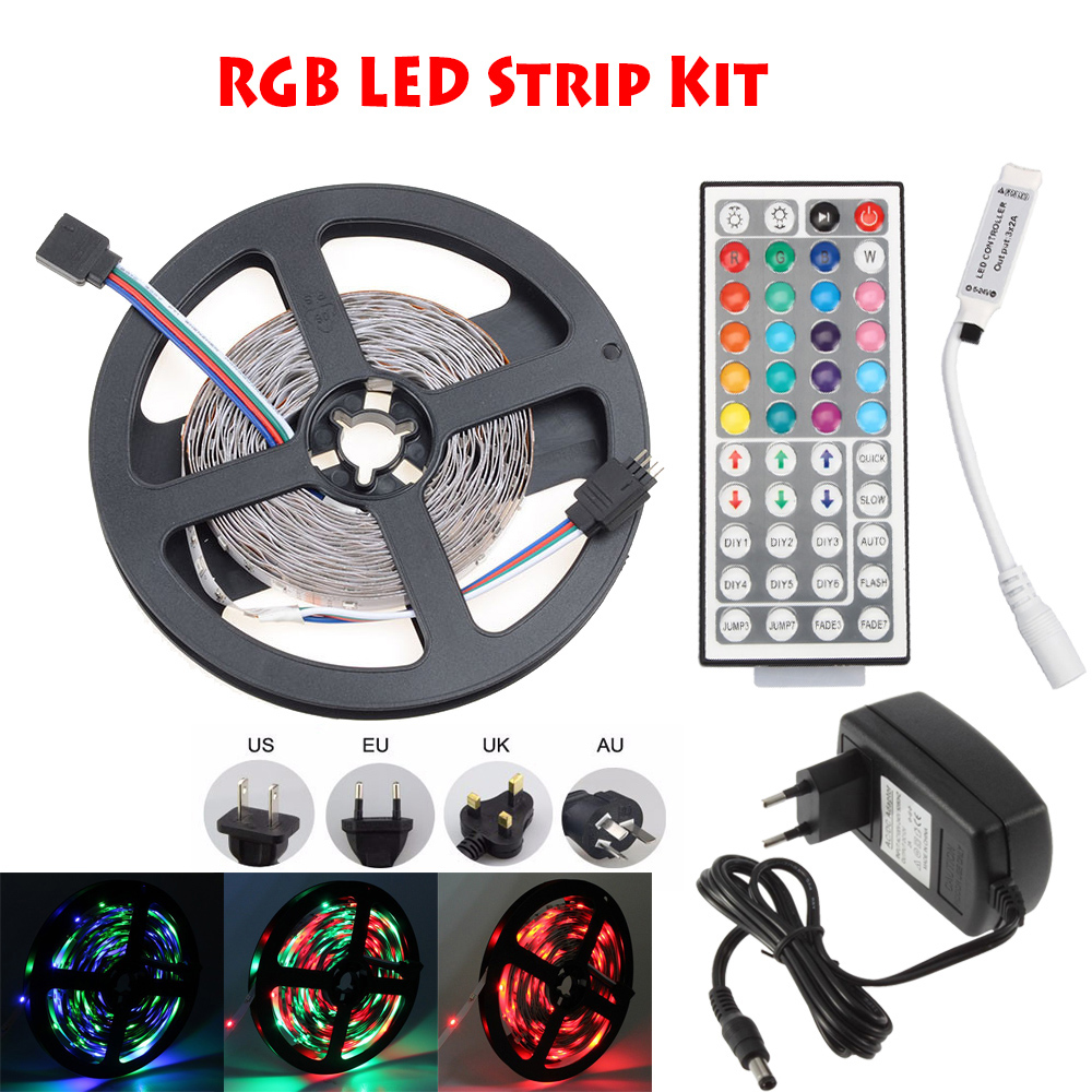 3528/2835 5050 5630 5730 LED Tape Strip Light No Waterproof Red Blue Green RGB With DC12V 2A 3A Adapter 24 Key IR RGB Controller цена