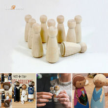 10pcs Wooden Unfinished DIY Craft Peg Dolls Wood Toy Arts Sewing Crafts Girl Doll Puppet Bases Cute Bobble Head