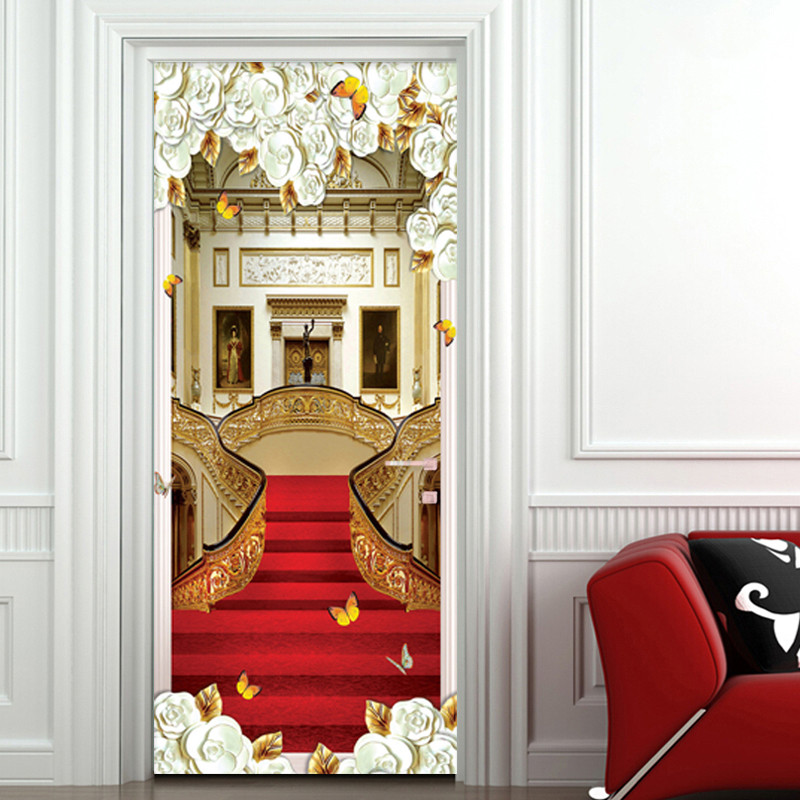 European Style Door Sticker 3D Stairs Red Carpet Wallpaper Living Room Hotel Home Decor Luxury Design Door Decals Wall Stickers