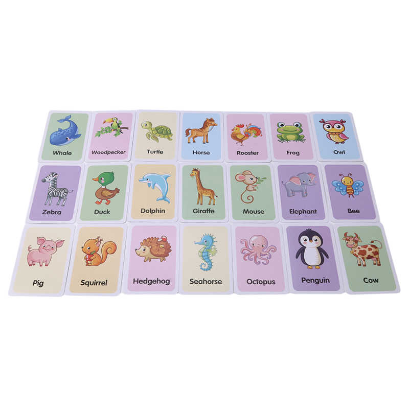Children Colorful Animal Shape Learning Card Pocket Flash Learning Montessori Educational Toys Word Table Game Card