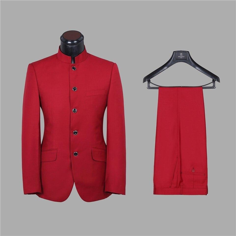 Five Buttons Groomsmen Mandarin Lapel Groom Tuxedos Red/Chocolate Men Suits Wedding Best Man (Jacket+Pants+Tie+Hankerchief) B909