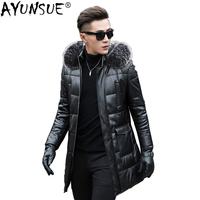 AYUNSUE Genuine Leather Duck Down Jacket Men Winter Sheepskin Coat Fox Fur Collar Hooded Chaqueta Cuero Hombre ML 1204 KJ1187
