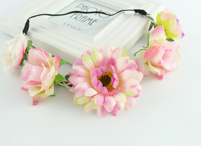 08c436e4051 Summer multi color Rose Flower Forehead Hair Head Band Girls Hairband  Headbands Festival Party Wedding tiara Christmas gift