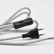 1.8M 2x0.75mm2 Lamp Switch Wire European Plug Lamp Power Cord with 304 Switch Floor Lighting Push Botton Switch Cable 1PC цена