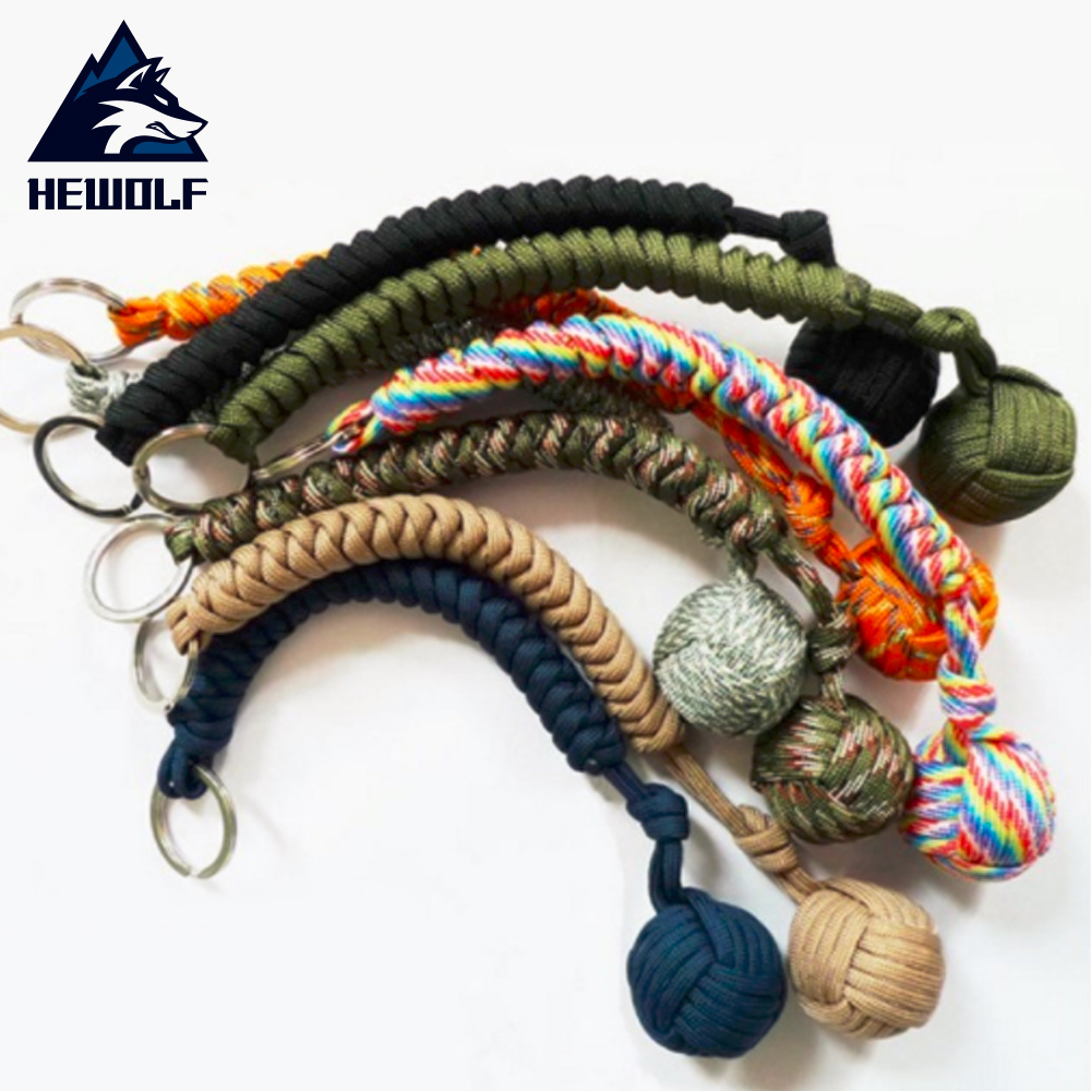 Hewolf 6 Colors Outdoor Security Protecting Monkey Fist Self Defense Tool Lanyard Survival Key Chain For