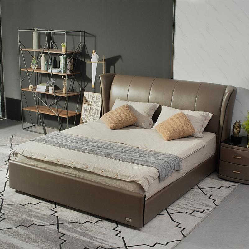 Latest design tufted Royal king size black leather Upholstered BedLatest design tufted Royal king size black leather Upholstered Bed