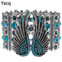Angel Wings Stretch Cuff Bracelet For Women Biker Crystal Punk Jewelry Summer Style Antique Silver Plated