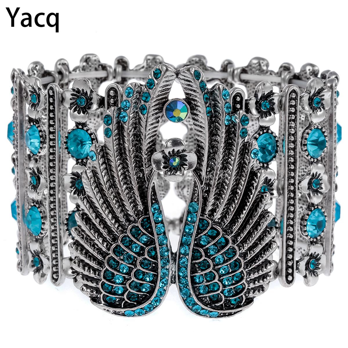 YACQ Guardian Angel Wings Bratara Stretch Cuff pentru femei Biker Crystal Punk Bijuterii cadou Antique Silver Color Dropshipping D05