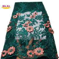 NI AI Green Cord Lace African Guipure French Lace Fabric With Stones African Lace Fabric 2018