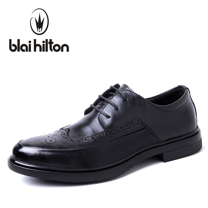 Blaibilton Genuine Leather Casual Oxford Brand Formal Dress Men Shoes Brogue Business Classic Office Wedding Italian SD158232 2016 new fashion 100% real genuine leather formal brand man italian oxford men s business dress lace up shoes gl065
