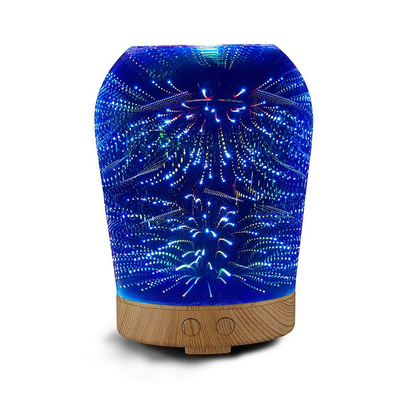 SUNLI HOUSE 3D Night Lights Colorful Aromatic 3D Humidifier Glass lamp Oil Diffuser LED lighting for Indoor Room 3 styles