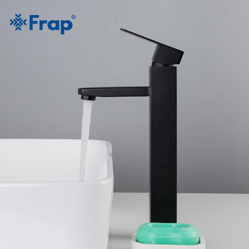 Frap Basin Faucet Black Square Bathroom Sink Faucet Tap Stainless Steel Bathroom Faucet Deck Mounted Basin Mixer Tap Y10170/-1