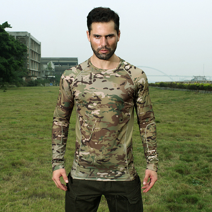 Chiefs Mens' Round Neck Elastic Long Sleeve Camouflage T Shirt Quick Dry Breathable T shirt outdoor Sport Military Army shirt