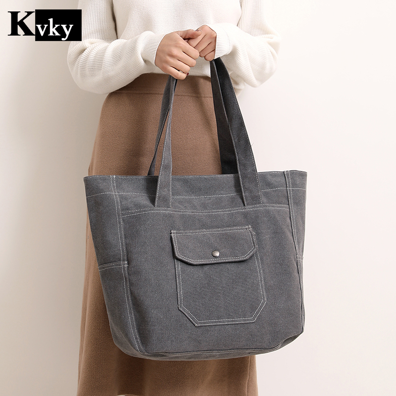 2018 Canvas Woman Hand Bag Women Handbags Vintage Large Capacity Ladies Tote Bag Casual Girls Shoulder Bags Bolsas Feminine